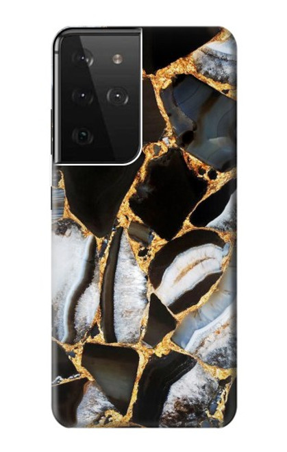 S3419 Gold Marble Graphic Print Case For Samsung Galaxy S21 Ultra 5G