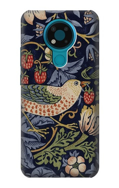 S3791 William Morris Strawberry Thief Fabric Case For Nokia 3.4