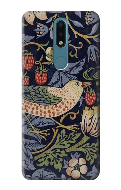 S3791 William Morris Strawberry Thief Fabric Case For Nokia 2.4