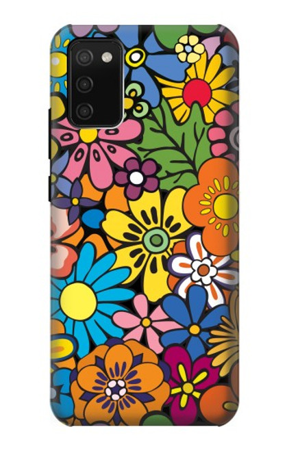S3281 Colorful Hippie Flowers Pattern Case For Samsung Galaxy A02s, Galaxy M02s