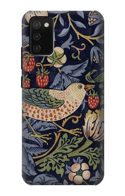 S3791 William Morris Strawberry Thief Fabric Case For Samsung Galaxy A02s, Galaxy M02s