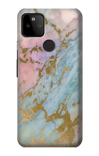 S3717 Rose Gold Blue Pastel Marble Graphic Printed Case For Google Pixel 5A 5G