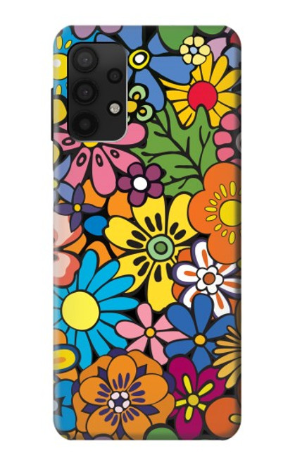 S3281 Colorful Hippie Flowers Pattern Case For Samsung Galaxy A32 4G