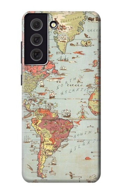 S3418 Vintage World Map Case For Samsung Galaxy S21 FE 5G
