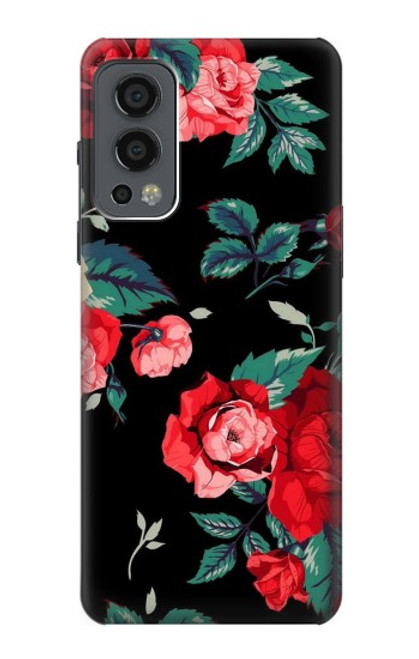 S3112 Rose Floral Pattern Black Case For OnePlus Nord 2 5G