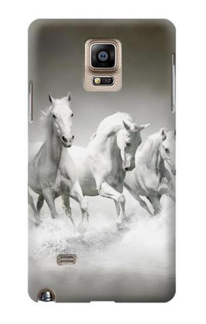 S0933 White Horses Case Cover For Samsung Galaxy Note 4
