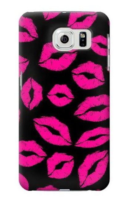 S2933 Pink Lips Kisses on Black Case For Samsung Galaxy S6