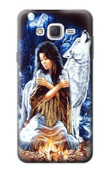 S0147 Grim Wolf Indian Girl Case For Samsung Galaxy J7