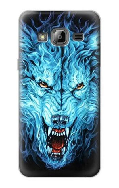 S0752 Blue Fire Grim Wolf Case For Samsung Galaxy J3 (2016)
