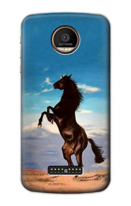 S0934 Wild Black Horse Case For Motorola Moto Z Force, Z Play