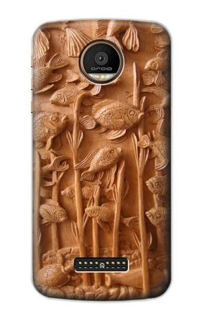 S1307 Fish Wood Carving Graphic Printed Case For Motorola Moto Z Force, Z Play
