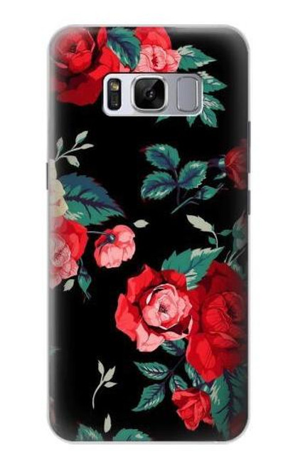 S3112 Rose Floral Pattern Black Case For Samsung Galaxy S8 Plus