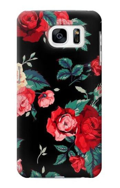 S3112 Rose Floral Pattern Black Case For Samsung Galaxy S7