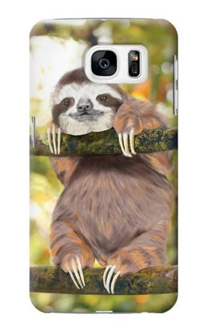 S3138 Cute Baby Sloth Paint Case For Samsung Galaxy S7