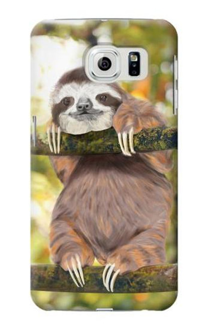 S3138 Cute Baby Sloth Paint Case For Samsung Galaxy S6