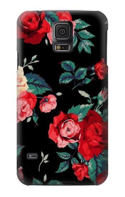 S3112 Rose Floral Pattern Black Case For Samsung Galaxy S5 mini