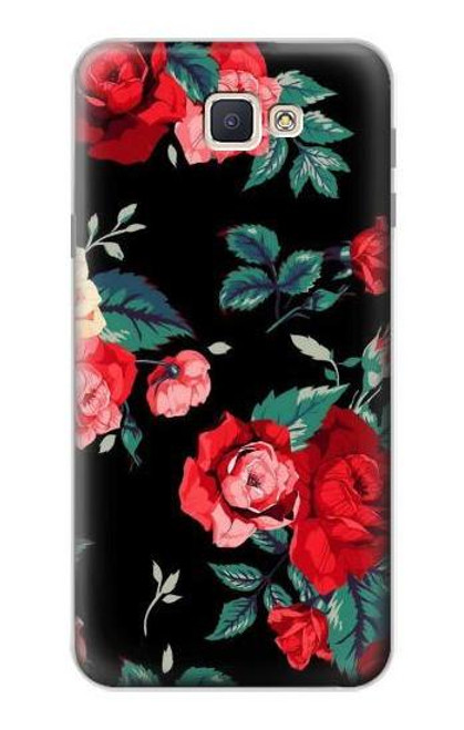 S3112 Rose Floral Pattern Black Case For Samsung Galaxy J7 Prime