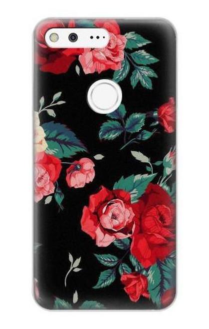 S3112 Rose Floral Pattern Black Case For Google Pixel XL