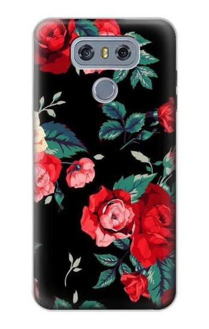 S3112 Rose Floral Pattern Black Case For LG G6