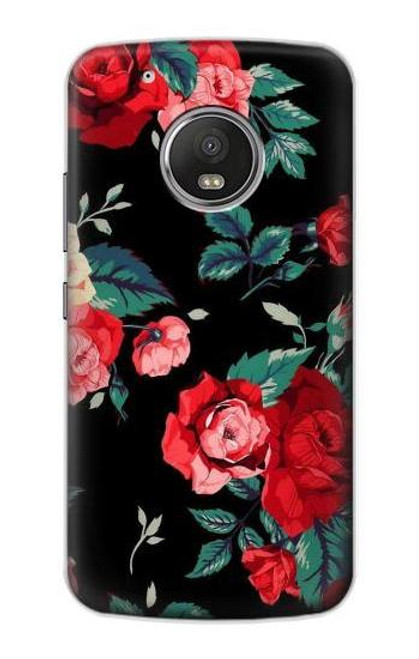 S3112 Rose Floral Pattern Black Case For Motorola Moto G5 Plus