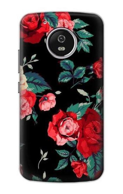 S3112 Rose Floral Pattern Black Case For Motorola Moto G5