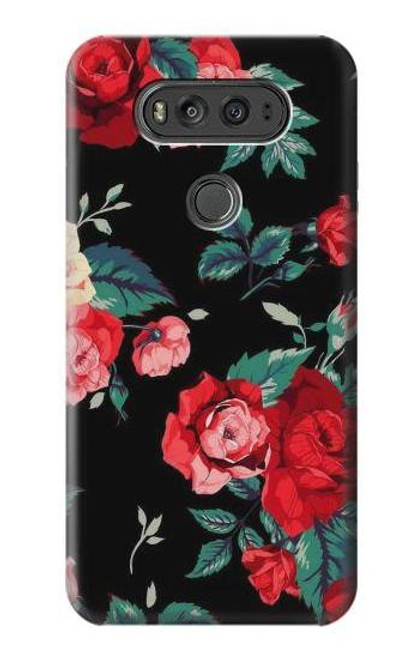 S3112 Rose Floral Pattern Black Case For LG V20