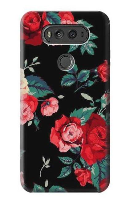 S3112 Rose Floral Pattern Black Case For LG V20