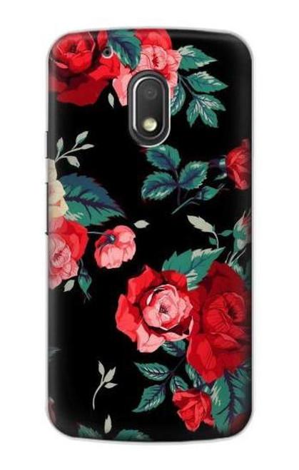 S3112 Rose Floral Pattern Black Case For Motorola Moto G4 Play