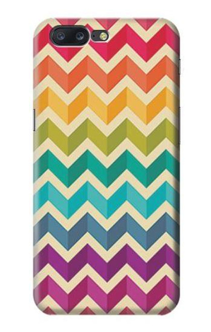 S2362 Rainbow Colorful Shavron Zig Zag Pattern Case For OnePlus 5