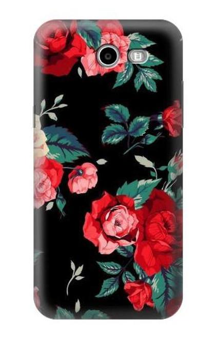 S3112 Rose Floral Pattern Black Case For Samsung Galaxy J7 (2017), J7 Perx, J7V, J7 Sky Pro