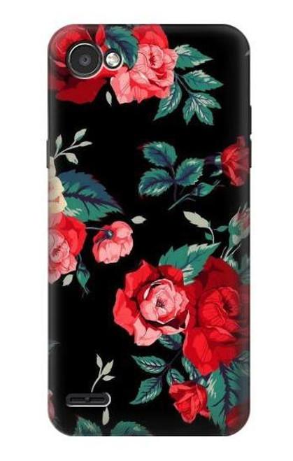 S3112 Rose Floral Pattern Black Case For LG Q6
