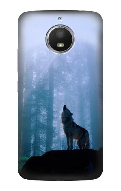 S0935 Wolf Howling in Forest Case For Motorola Moto E4 Plus