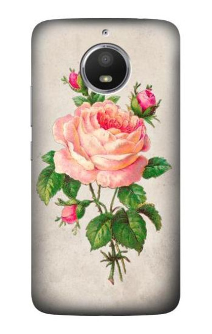S3079 Vintage Pink Rose Case For Motorola Moto E4 Plus