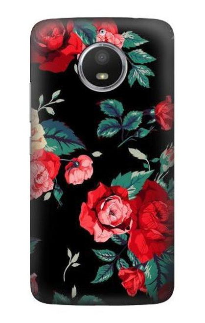 S3112 Rose Floral Pattern Black Case For Motorola Moto E4 Plus