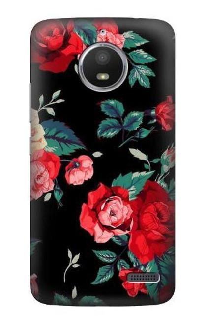 S3112 Rose Floral Pattern Black Case For Motorola Moto E4