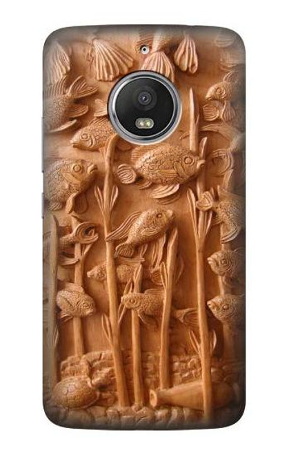 S1307 Fish Wood Carving Graphic Printed Case For Motorola Moto G5S
