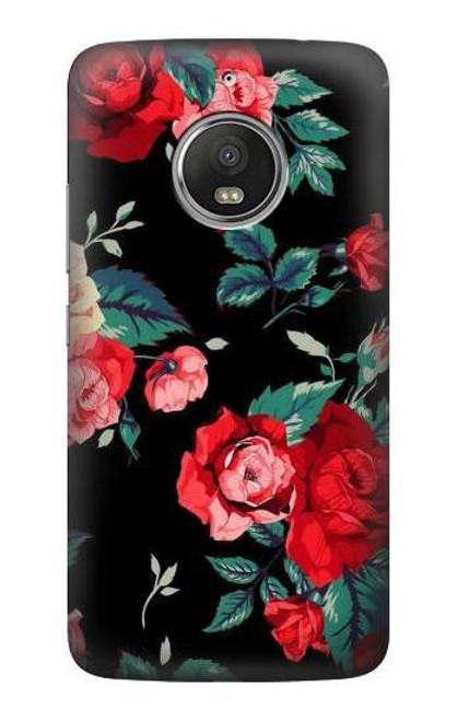 S3112 Rose Floral Pattern Black Case For Motorola Moto G5S