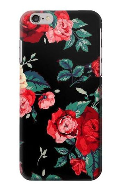 S3112 Rose Floral Pattern Black Case For iPhone 6 6S