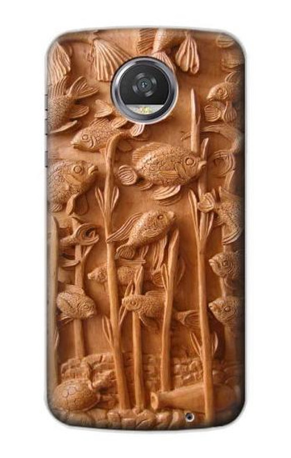 S1307 Fish Wood Carving Graphic Printed Case For Motorola Moto Z2 Play, Z2 Force