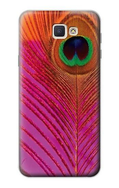 S3201 Pink Peacock Feather Case For Samsung Galaxy J7 Prime (SM-G610F)