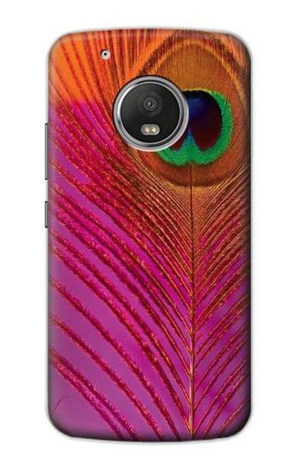 S3201 Pink Peacock Feather Case For Motorola Moto G5 Plus