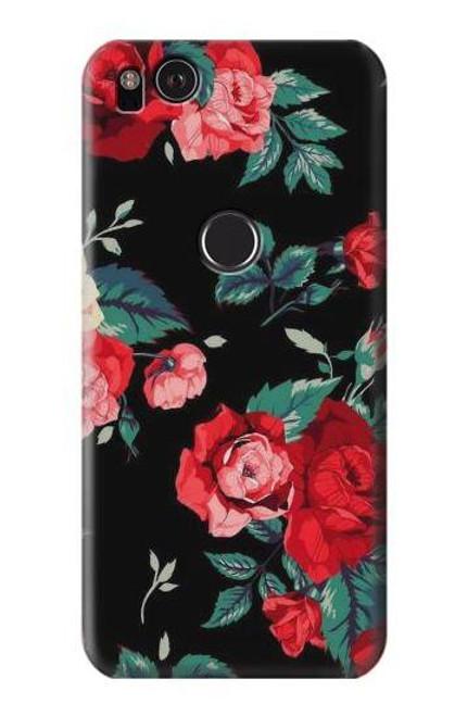 S3112 Rose Floral Pattern Black Case For Google Pixel 2
