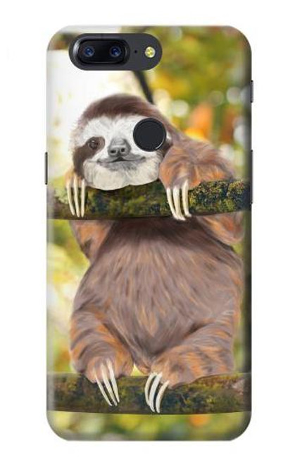S3138 Cute Baby Sloth Paint Case For OnePlus 5T