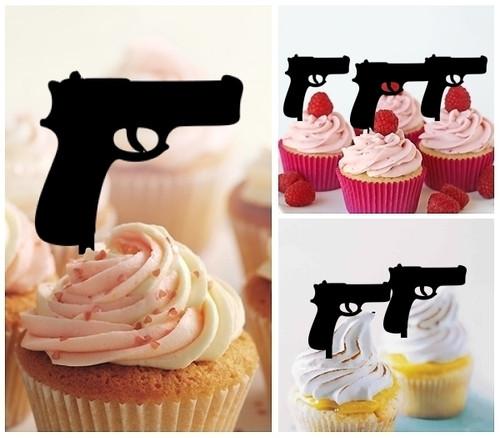 TA0030 Pistol Gun Silhouette Party Wedding Birthday Acrylic Cupcake Toppers Decor 10 pcs