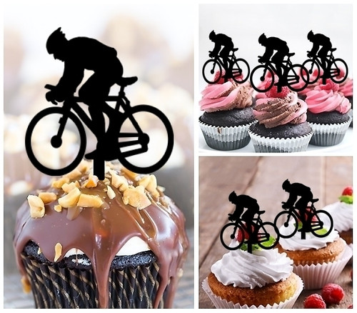 TA0067 Bicycle Sport Silhouette Party Wedding Birthday Acrylic Cupcake Toppers Decor 10 pcs