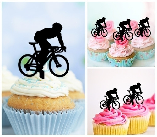 TA0068 Bicycle Sport Silhouette Party Wedding Birthday Acrylic Cupcake Toppers Decor 10 pcs