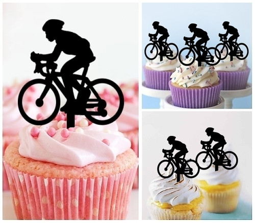 TA0069 Bicycle Sport Silhouette Party Wedding Birthday Acrylic Cupcake Toppers Decor 10 pcs