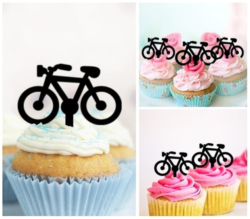 TA0075 Bicycle Silhouette Party Wedding Birthday Acrylic Cupcake Toppers Decor 10 pcs