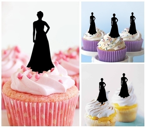 TA0109 Model Lady Party Dress Silhouette Party Wedding Birthday Acrylic Cupcake Toppers Decor 10 pcs