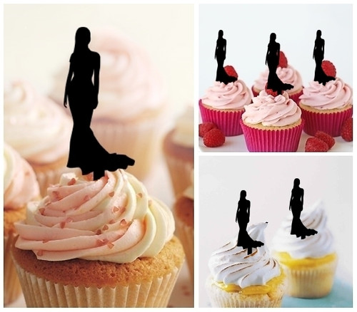 TA0110 Model Lady Party Dress Silhouette Party Wedding Birthday Acrylic Cupcake Toppers Decor 10 pcs